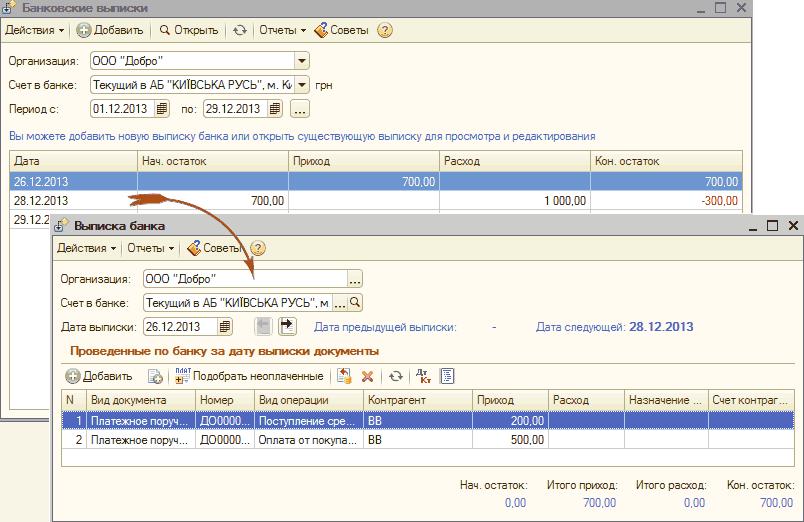 Как разнести банковские выписки в 1с 7.7