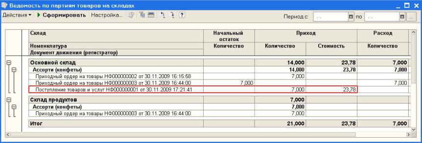 """Оформим перемещение товара по ордеру документом  """"Перемещение товаров НФ000000002 """".  В данном случае документ..."""